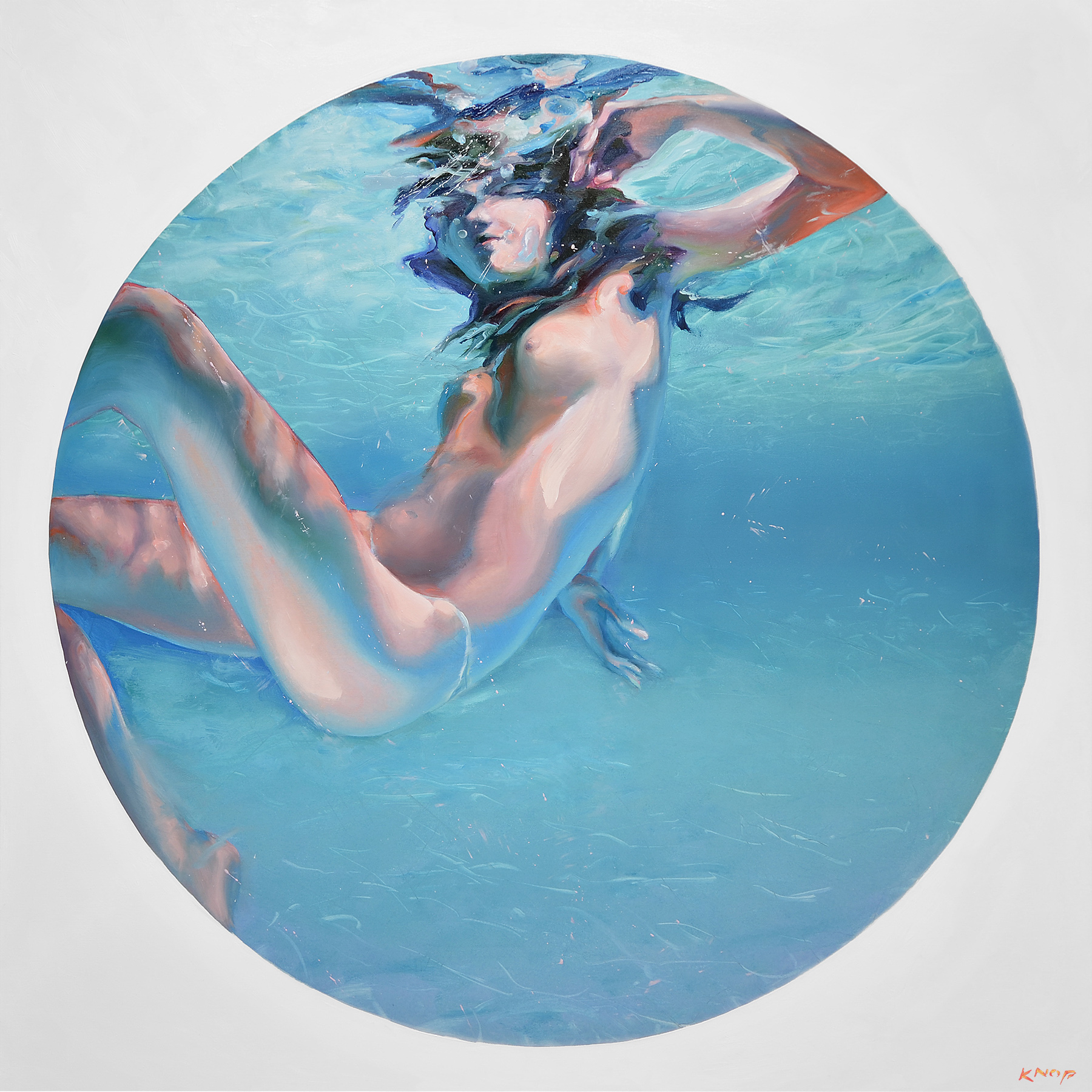 Madame Butterfly XXI SWIMMING POOL 2021 120x120 cm